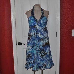 New I.C.E. Batik Blue Beaded Yoke Halter Dress E6